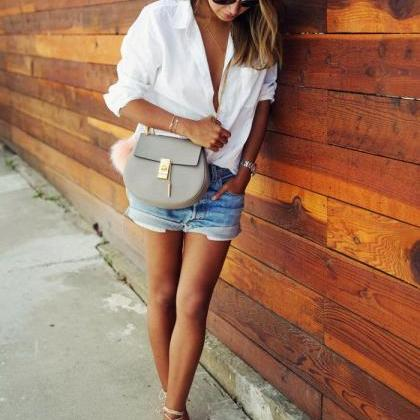 White Long-Sleeve Casual Shirt with..