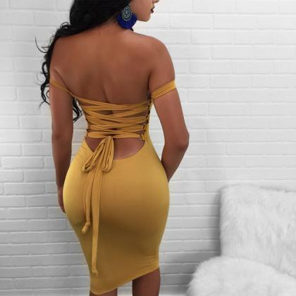 Sexy Sling Backless High Waist Dres..