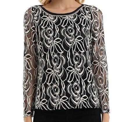 Women'S Long Sleeve Round Neck Lace..