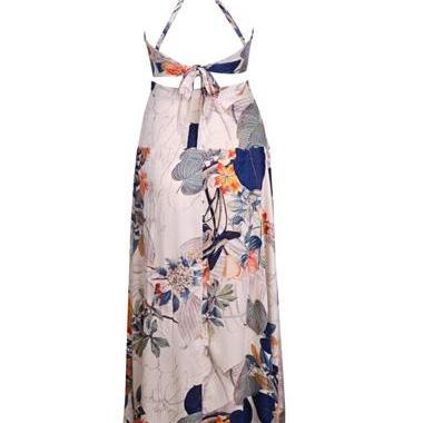 Cross Back Printed Two Piece Maxi D..