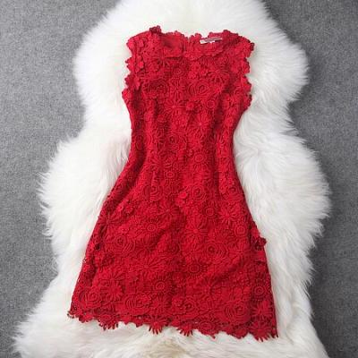 Luxury Designer Lace Dress - Red GH111701MH