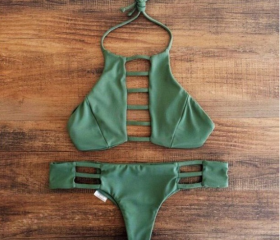 Sexy green two-piece..