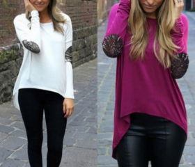 Loose long-sleeved r..