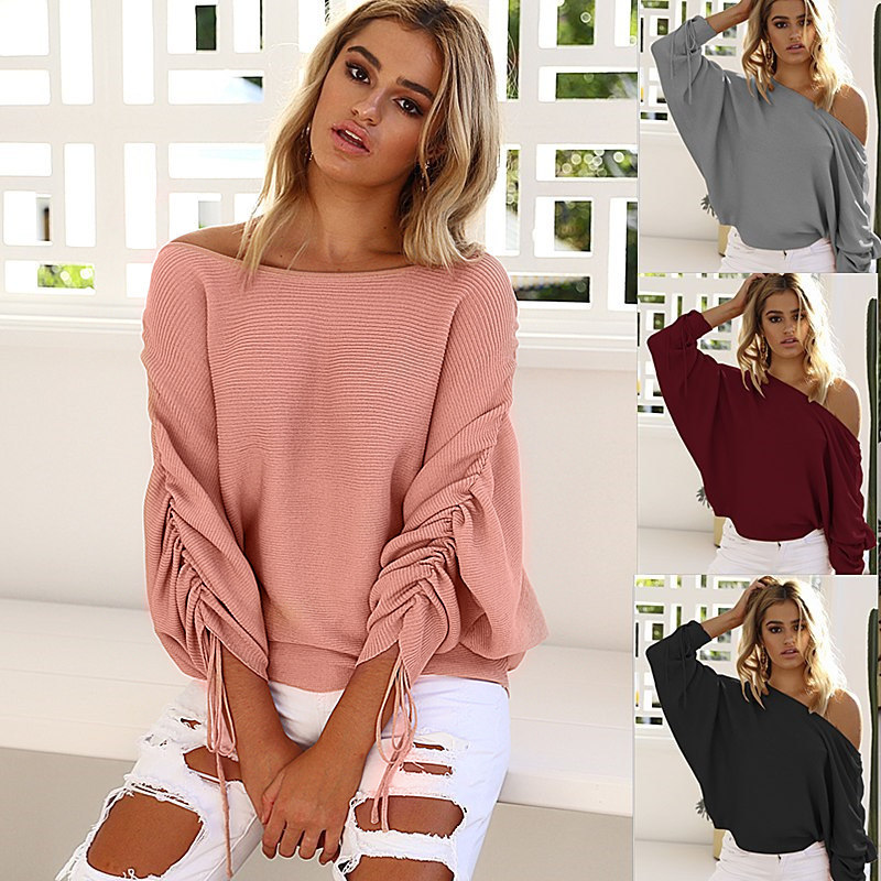 Women'S Strapless Knitted Sweaters
