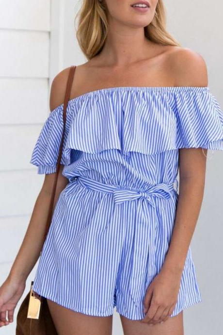 Blue White Striped Off-The-Shoulder Ruffled Romper Featuring Bow Accent Waist