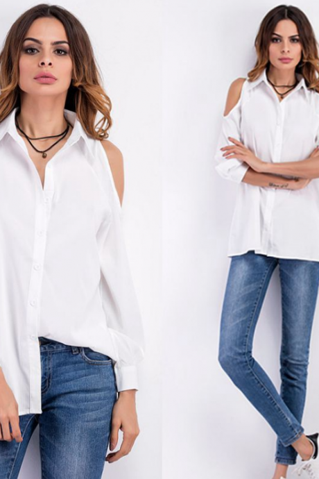 Cold Shoulder Button Down Long Sleeved Shirt