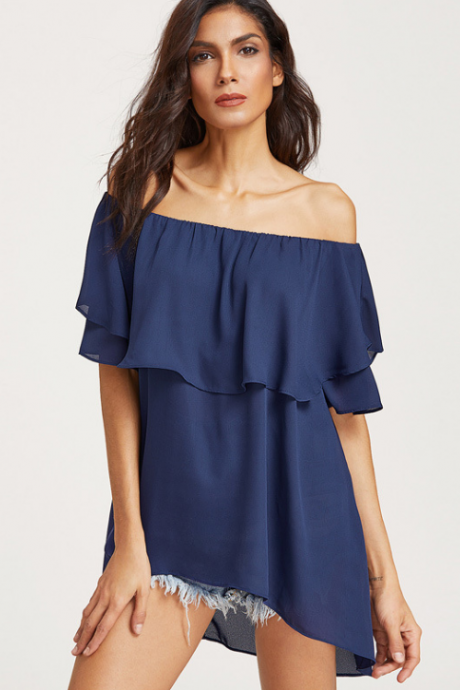 Ruffed Double Layered Off-The-Shoulder Chiffon Top