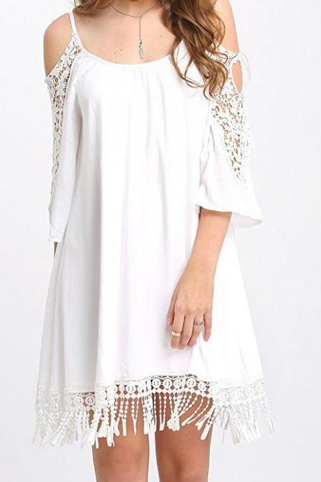 White Cold Shoulder Lace Chiffon Shift Dress with Fringe