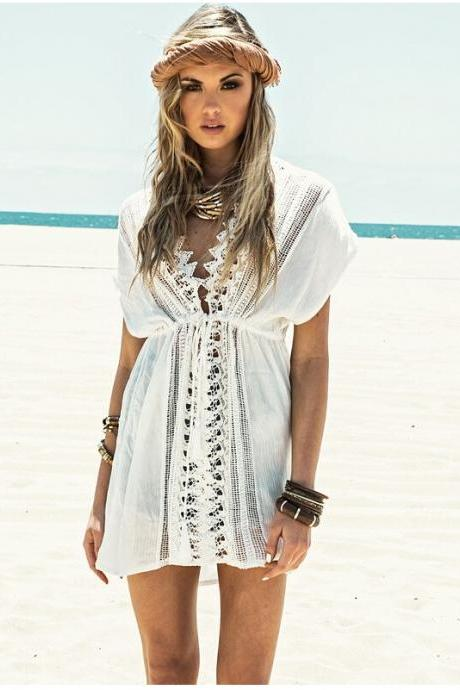 Solid Color White Beach Dress