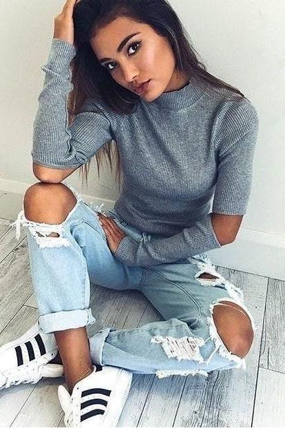 Long Sleeve Winter Slim Ripped Holes Tops