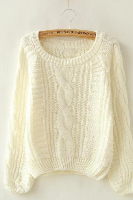 White Cable Knit Scoop Neck Long Cuffed Sleeves Sweater