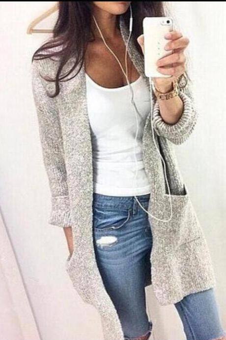 Fashion Light gray Cardigan Jacket Coat