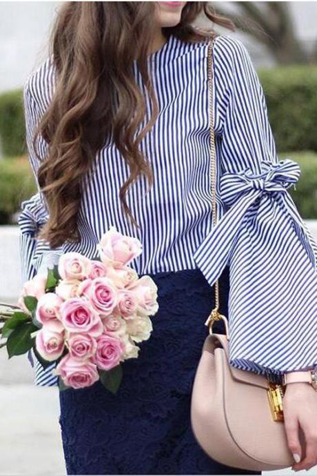 Round Neck Long-Sleeved Striped Shirt
