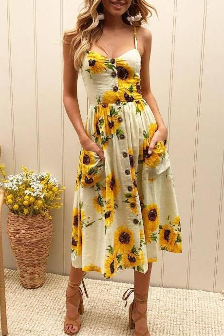 Sexy Printed Sling Backless Dress