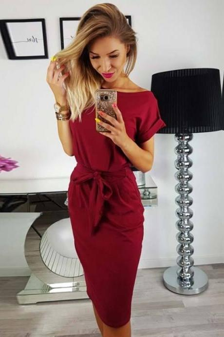 2018 Women's Solid Color High Waist Short Sleeve Dress