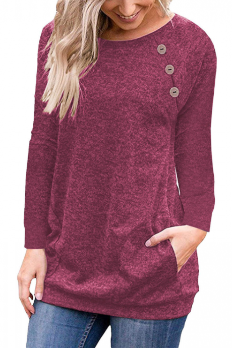 Button Long Sleeve Pocket T-Shirt