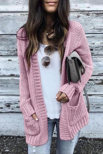 Solid Color Long Sleeve Cardigan Sweater