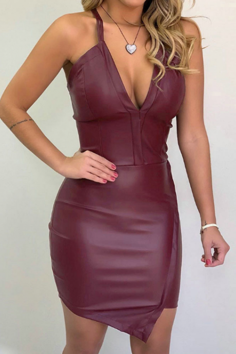 Low-Cut Strap V-Neck Sexy Skinny Dress