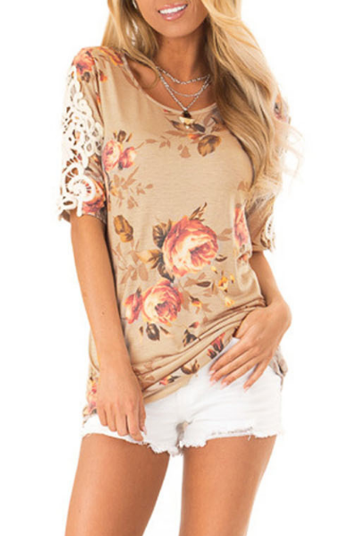 Round Neck Print Sexy Lace Top