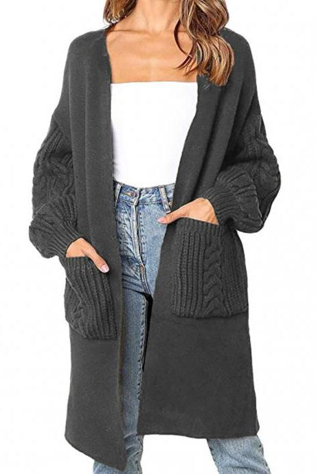 Solid Color Knit Cardigan Sweater Coat