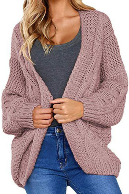 Large Size Loose Color Knit Long Sleeve Cardigan Coat
