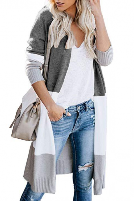 Lightweight Color Block Cardigan