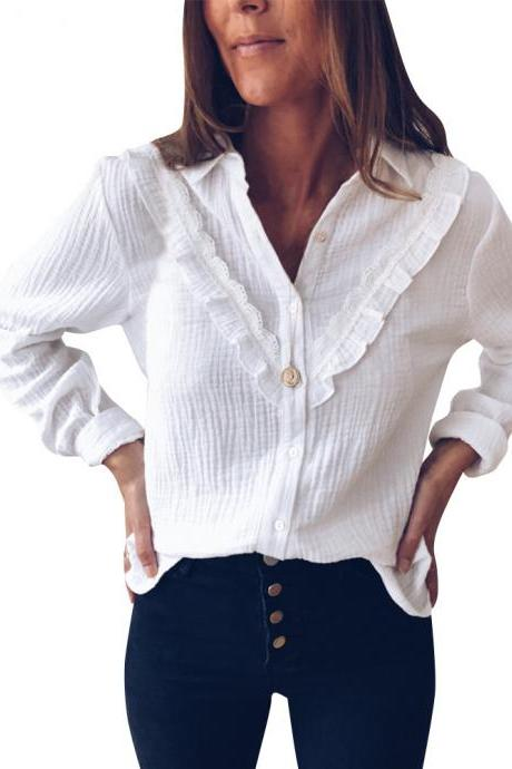 Long Sleeved Solid Color Fashion Long Sleeve Shirt