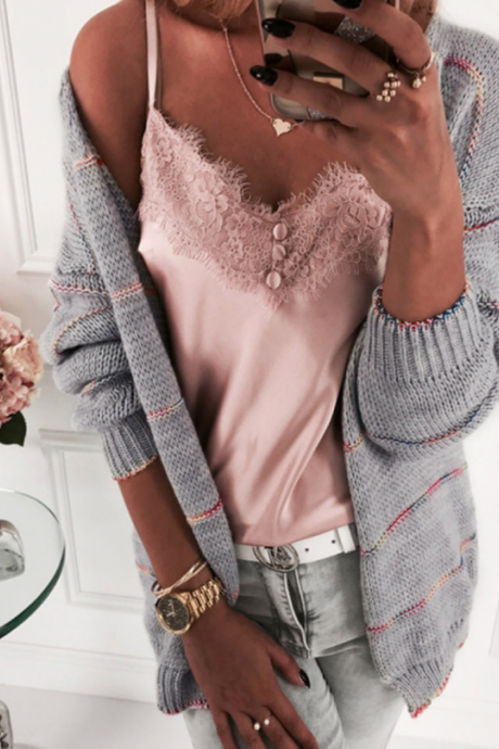 Loose Casual Long Sleeve Cardigan Sweater
