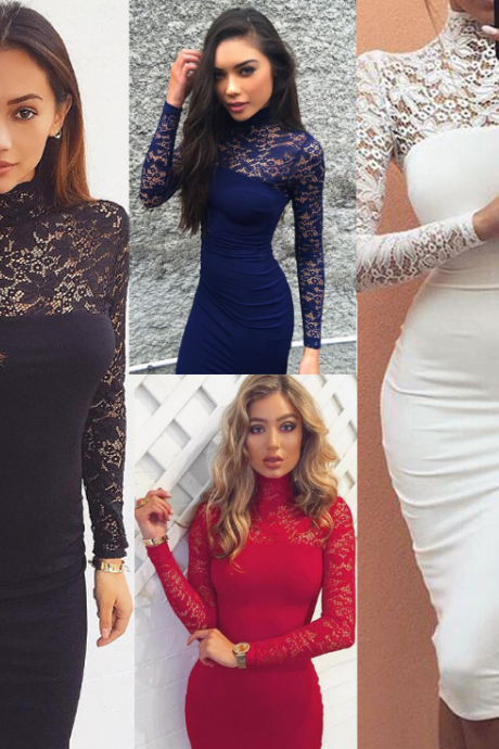 Sexy Long-Sleeved Lace Dress 4106