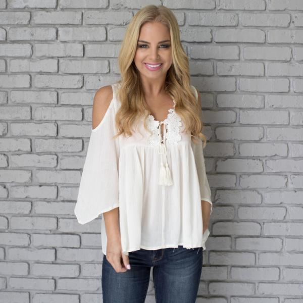Solid Color White Chiffon Shirt