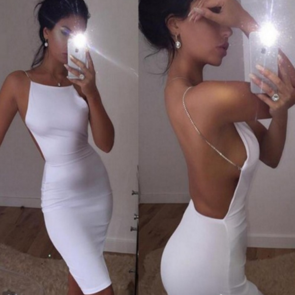 Solid Color Sexy Backless Dress 22505