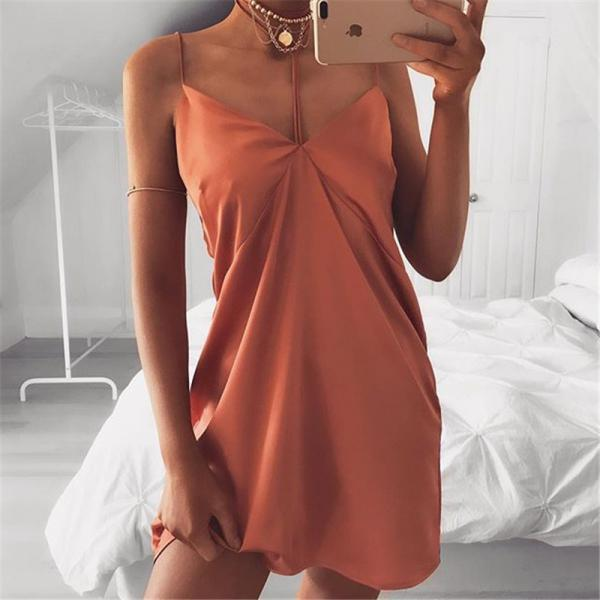 Solid Color Hanging Neck Sling Dress
