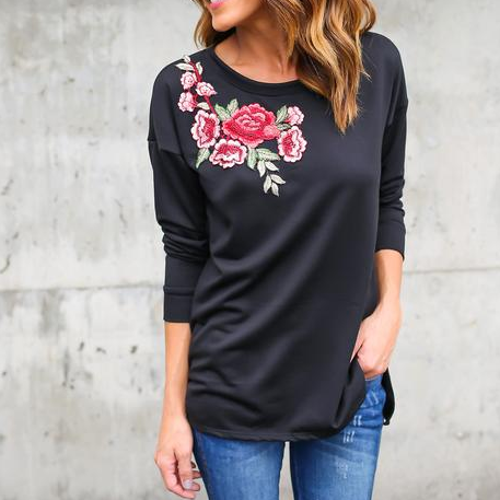 Floral Embroidered Long Sleeved Top Featuring Crew Neck
